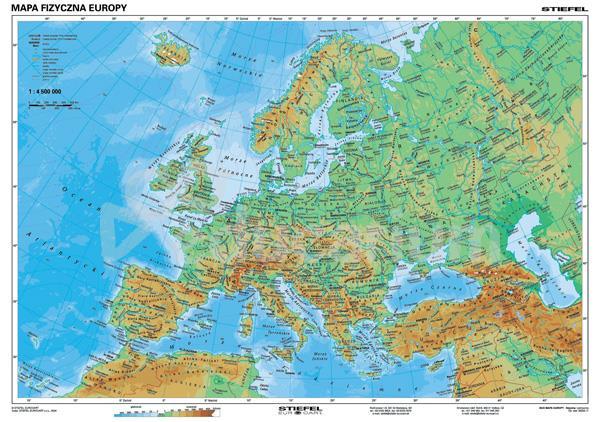 Mapa Europa Fizyczna I Polityczna 160 X 120 Cm Skala 1 4 500