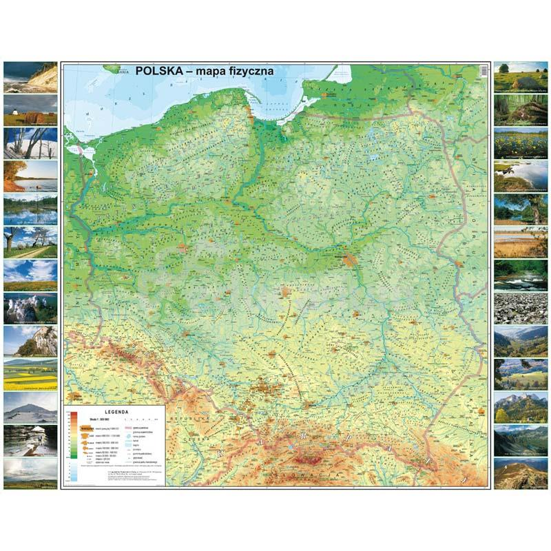 Mapa Polska Fizyczna 173x140 Cm Skala 1 500 000 Polska