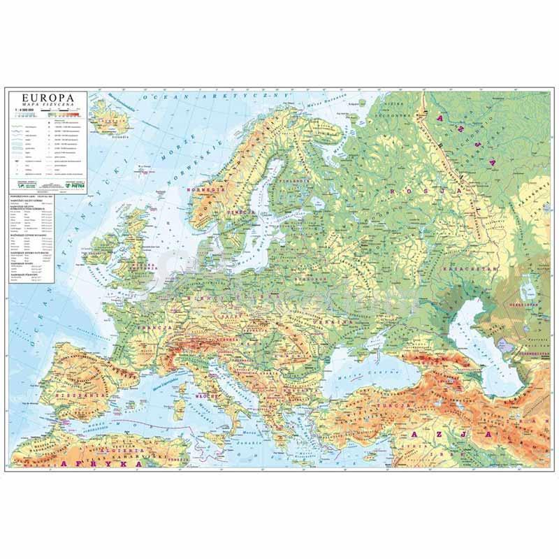 Mapa Europa Fizyczna 140x100 Cm Skala 1 1 4 500 000 Mapy
