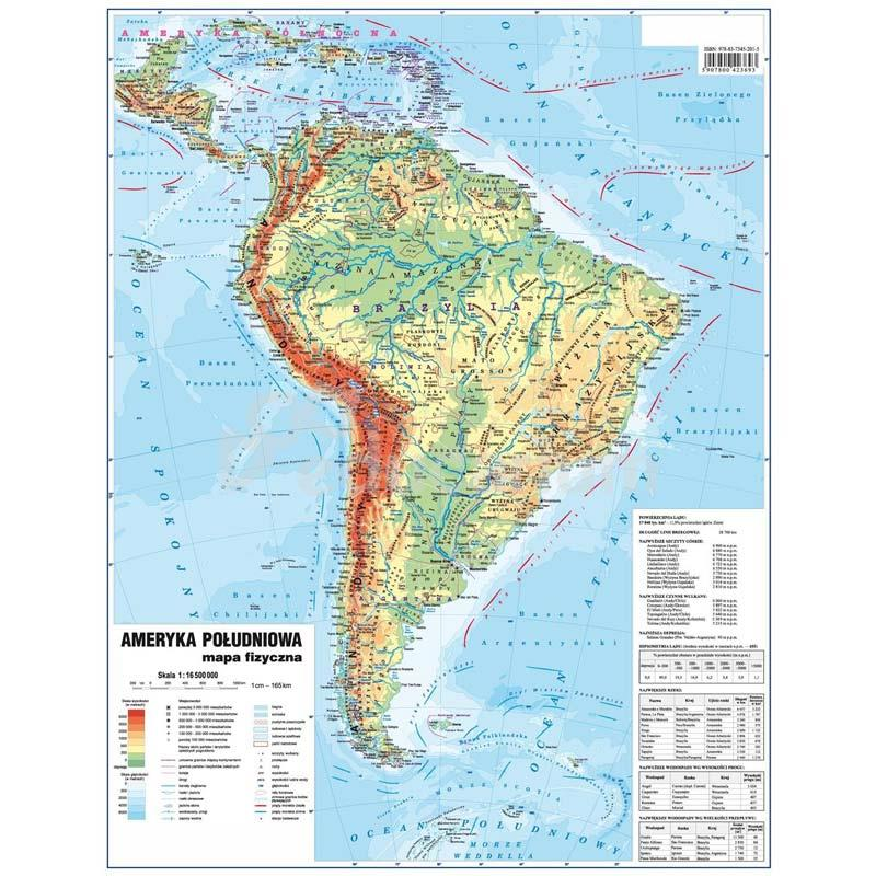 Mapa Ameryka Poludniowa Fizyczna Polityczna 48x63 Cm Skala 1