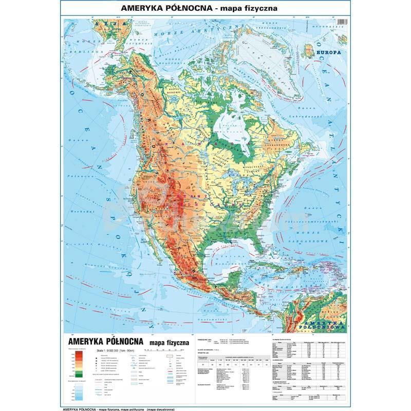Mapa Ameryka Polnocna Fizyczna Polityczna 100x140 Cm Skala 1 9