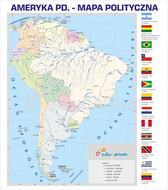 Ameryka Poludniowa Mapa Polityczna 150 X 170 Cm Mapy