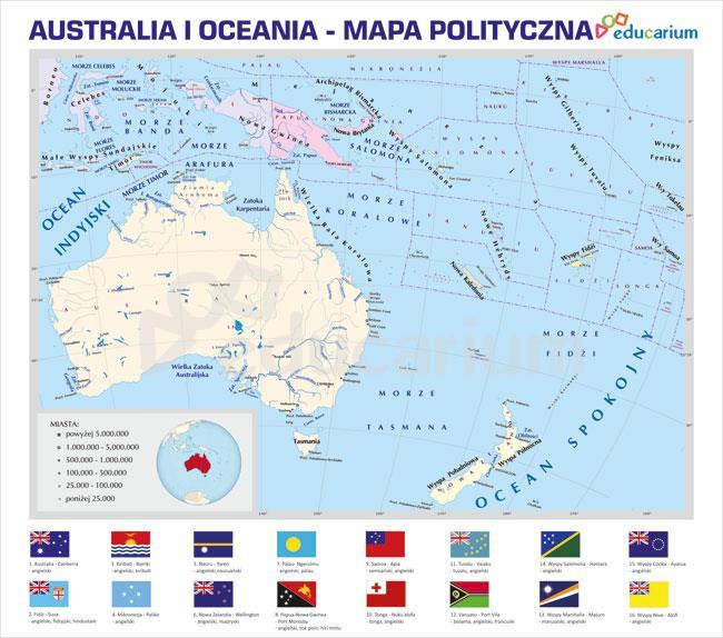Australia I Oceania Mapa Polityczna 150 X 170 Cm Mapy