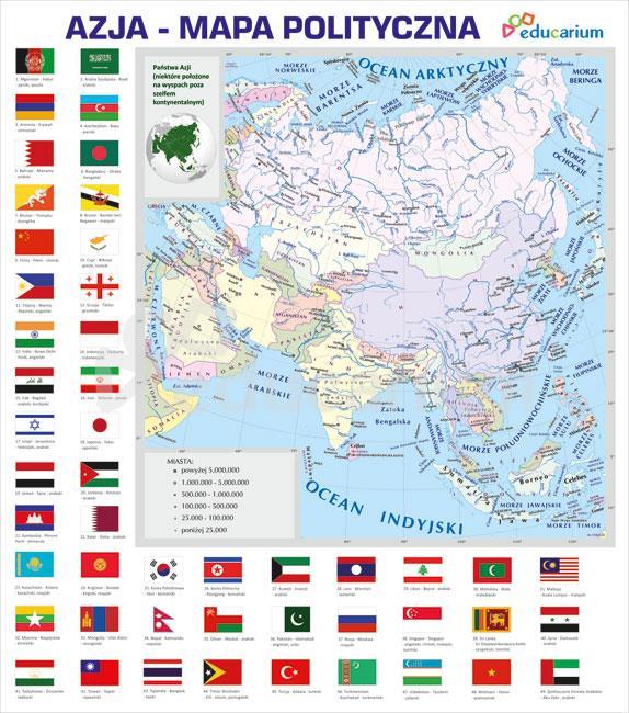 Azja Mapa Polityczna 150 X 170 Cm Mapy Polityczne Educarium